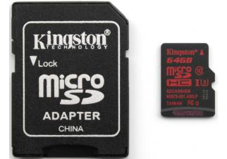 Карта памяти Kingston microSDXC UHS-I U3 (Class 10) 64GB (SDCA3/64GB)