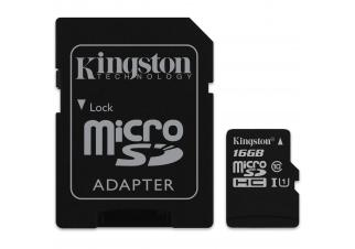 Карта памяти Kingston microSDHC UHS-I (Class 10) 16GB + адаптер (SDC10G2/16GB)