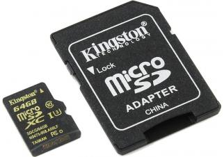 Карта памяти Kingston Gold microSDHC UHS-I (Class 3) U3 64GB + адаптер SDCG/64GB